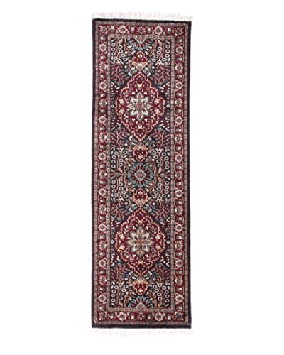 eCarpet Gallery One-of-a-Kind Hand-Knotted Kashmir Rug, Black/Dark Red, 1' 11 x 6' 1 Runner
