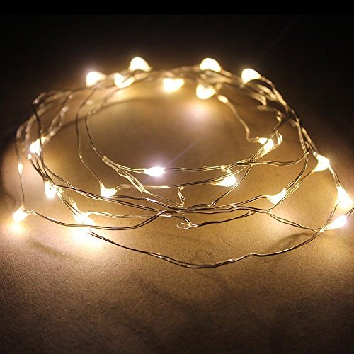 Warm White 2M 20 Led Copper Wire Starry Lights,Battery Power Flexible Copper Wire Ligths For Christmas, Wedding Decoration