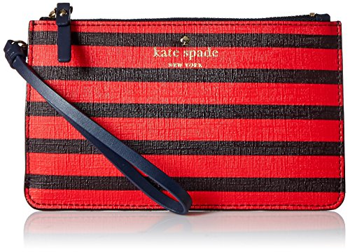 kate spade new york Fairmount Square Slim Bee Wristlet, Rich Navy/Cherry Liqueur, One Size Wristlet Cherry