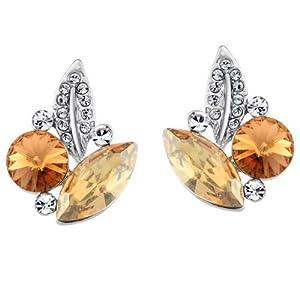 Neoglory Jewelry Leaf Stud Earrings Champagne Crystal Valentine Gift