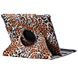 Himanjie Kingain New 360 degrees Smart Leopard/Lattice Plastice Skin Cover case With Stand for Apple ipad 2 3rd(Brown)