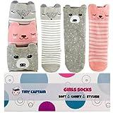Baby Girl Knee High Long Socks Non Slip Toddler Socks 8-24 Months Anti Slip Non Skid Leg Warmer Walker Baby Socks Gift Set, Best Gifts for 1 Year Old Girl from Tiny Captain (Pink, Small)