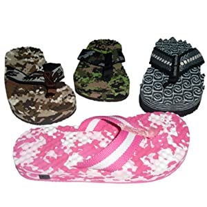 BBTradesales Treasure Seeking Metal Detecting Flip Flops [Pink Camouflage, Small]
