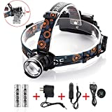 {Rechargeable Zoomable 3 Modes }CREE XM-L T6 Led Headlamp +2x18650 Rechargeable Batteries+ Wall Charger+Car Charger+ Special USB Cable for Head Lamp ; Perfect for Working ,Camping, Hunting-Light Weight &Comfortable-One Year Warranty(Black)
