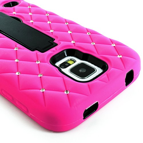 Mylife (Tm) Ultra Rose Pink And Electric Midnight Black - Diamond Shock Suit Survivor Series (Built In Kickstand + Easy Grip Silicone) 3 Piece + 2 Layer Case For New Galaxy S5 (5G) Smartphone By Samsung (External Flex Silicone Bumper Gel + Internal 2 Piec