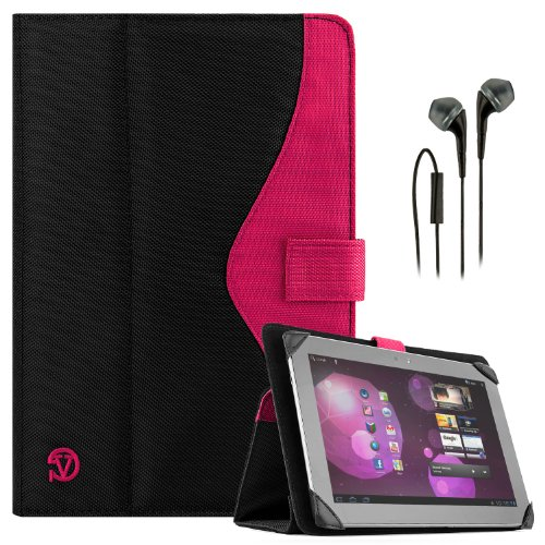 Soho Portfolio Stand - Nylon Detachable Flip Cover Case (Pink Magenta) For Dell Latitude 10 Tablet Touch 10.1 Inch + Black Handsfree Earphone /Microphone Headphones