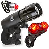 LED Lights For Bikes - Free Helmet Light - Quick Release Mounts - Best Flashing Front and Back Tail Bike Light Set - Safest Super Bright Headlight Torch and Rear Cycling Kit for All Bicycles