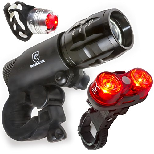 LED Lights For Bikes - Helmet Light - Quick Release Mounts - Best Flashing Front and Back Tail Light Set - Safest Super Bright Headlight Torch and Rear Cycling Kit for All Bicycles (Vintage Bike Accessories compare prices)
