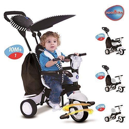 New-Smart-Trike-Spark-4-In-1-Touch-Steering-Tricycle-Bike-Stroller-White-6752400-by-Smart-Trike