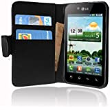 Cadorabo ! LG Optimus Black P970 Leather cover Wallet Book Style in black