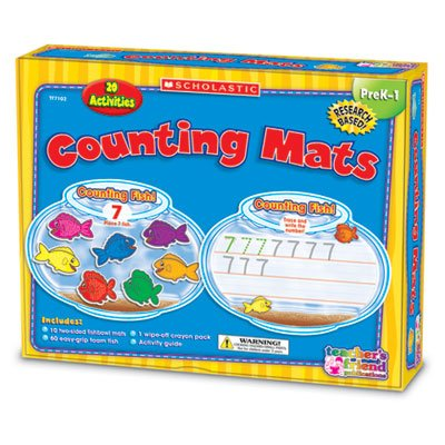 Counting Mats Kit, 10 Two-Sided Mats, 60 Foam Fish And Crayons (Shstf7102) Category: Scholastic Teaching Resources front-943903