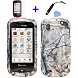 4pcs Combo: LCD Screen Protector Film + Stylus Pen + Case Opener + Pine Tree Leaves Camouflage Wild Outdoor Design Rubberized Snap On Hard Case for Verizon Pantech Hotshot 8992