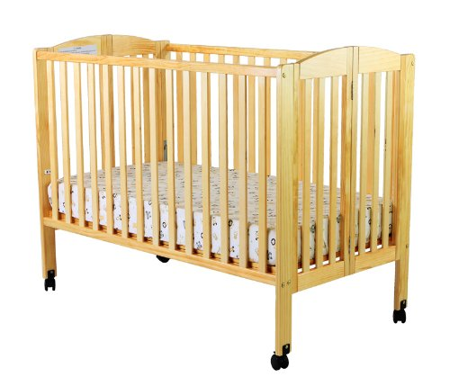 Dream On Me Full Size 2 In 1 Folding Stationary Side Crib, Natural front-914858