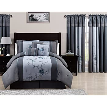 Black//Gray Chezmoi Collection 6-Piece 3-Tone Embroidered Comforter Set Twin