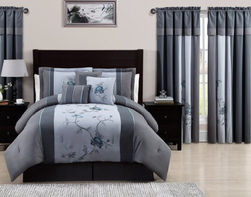 Chezmoi Collection 7-Piece Embroidered Floral Bed In A Bag Comforter Set Queen, Gray Blue front-560605