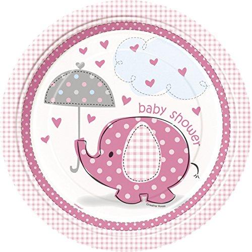 Umbrella Elephant Girl Baby Shower Large Paper Plates (8ct)