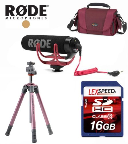 Rode Vmgo Mic For Canon Eos Sl1 T5I, T4I, T3I, T3, T2I - Videomic Go Lightweight On-Camera Microphone W/ Vanguard Nivelo Tripod, Lowepro Video Bag, 16Gb Deluxe Kit