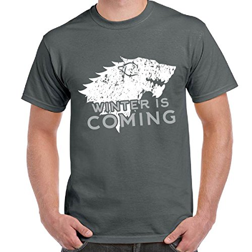 T-Shirt Uomo Maglia Scura Stampa Game Of Thrones Winter Is Coming House Stark, Colore: Antracite, Taglia: L