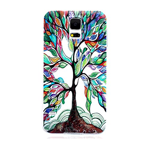 For Galaxy S5 , ivencase Colorful Tree [Ultra Thin] Pattern Flexible Slim Soft Texture TPU Gel Protective [Clear] Rear Case Cover Perfect Fit for Samsung Galaxy S5 SV + One