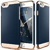 iPhone 6 Plus Case, Caseology® [Savoy Series] Chrome / Microfiber Slider Case [Navy Blue] [Premium Rose Gold] for Apple iPhone 6 Plus (2014) - Navy Blue