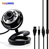 VAlinks 6-LED Round Night Vision Webcam HD Computer Camera Web Cam With Microphone Clip For Video Calling Recording... - B0166P1GMS