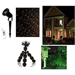 Color Laser Landscape 2 Color Red Green Projector holiday Light w/ Remote & Indoor Tripod for Halloween, Christmas, landscape & parties!