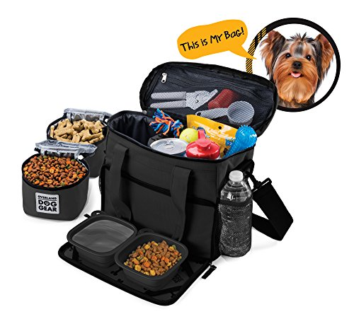 dog-travel-bag-week-away-tote-for-small-dogs-includes-bag-2-lined-food-carriers-placemat-and-2-colla