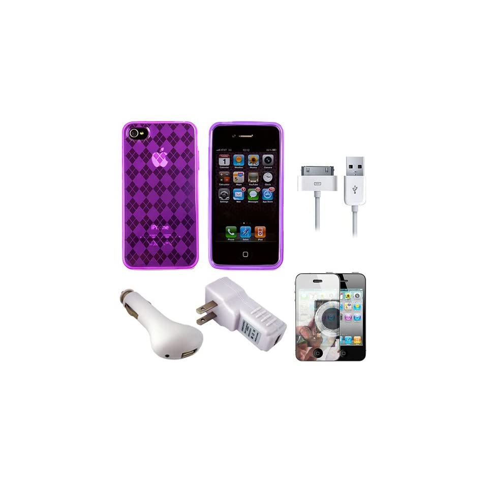 Purple Argyle Premium Rubberized Protective TPU Silicone Skin Cover Case for Verizon Wireless New iPhone 4 (16GB, 32GB) 4th Generation and AT&T iPhone 4 + Mirror Screen Protector for Apple iPhone 4 LCD Display Screen + USB Car Charger + USB Travel Wall Cha