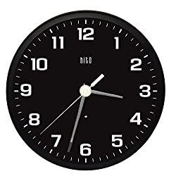 HITO Silent Non-ticking Wall Clock- Metal Frame Glowing Hands Luminous Numerals, 10 inches