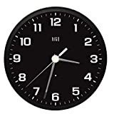 HITO Silent Non-ticking Wall Clock- Metal Frame Glowing Hands Luminous Numerals, Glowing All Night, 10 inches (Black)