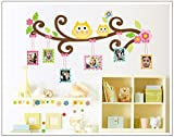 Oren Empower Decorative Branch With Owls And Photo Frames PVC Vinyl Large Wall Sticker
