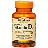 Sundown Naturals D3 1000 IU Chewable Tablets, 120 Count (Pack Of 3)