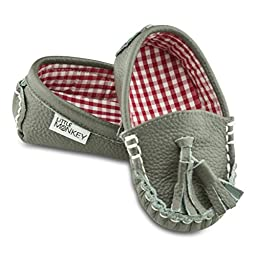 Picnic Party Leather and Fabric Lined Moccasin Shoes (12-18 Months)