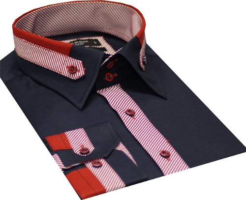 Italian Design Men's Formal Casual Shirts Detail Collar & Cuffs Navy Colour Slim
