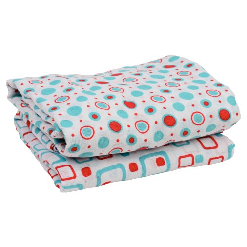 "juDanzy Geometric Turquoise & Red 100% Cotton Swaddle Set of 2 Large 45""X45"" Muslin Baby Girl or Boy Blankets"
