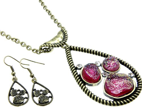 NECKLACE AND EARRING SET METAL METAL CASTING FUSCHIA Fashion Jewelry Costume Jewelry fashion accessory Beautiful Charms