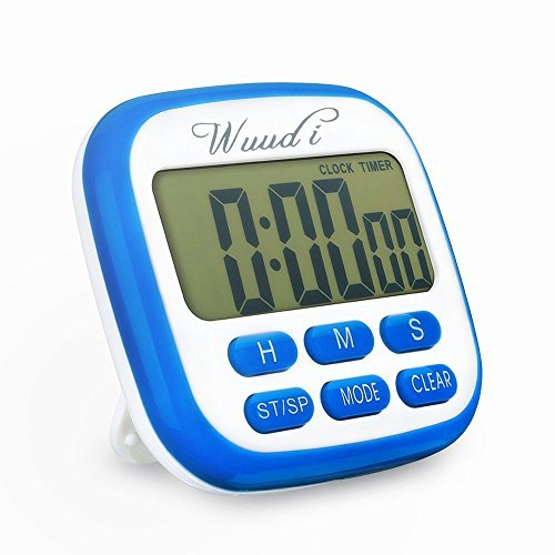 Digital Kitchen Timer, Wuudi 2-in-1 Large LCD Timer Magnetic Clock, Electric Timer for Sports Gym Cooking Nursing(Blue) (Kitchen Timer Kitchen Aid compare prices)