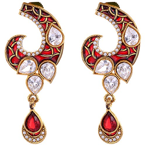 Aditri Aditri Red Colour American Diamond Clip-On Fashion Earrings For Women (Multicolor)