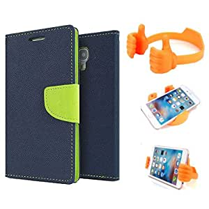 Aart Fancy Diary Card Wallet Flip Case Back Cover For Nexus 4 - (Blue) + Flexible Portable Mount Cradle Thumb Ok Stand Holder By Aart store