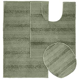 Garland Rug 3-Piece Essence Nylon Washable Bathroom Rug Set, Deep Fern