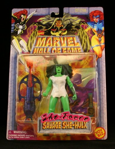 SAVAGE SHE-HULK Marvel Comics Hall Of Fame SHE-FORCE Series 1997 Action Figure and Collector Trading Card (Iron Man Action Figure )