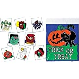 Halloween Party Acitivity Kit - 8 Assorted Designs Tattoos & Trick-or-Treat Plastic Bags Set