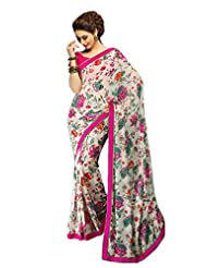 Indian Classy Off White Colored Printed Faux Georgette Saree By Triveni