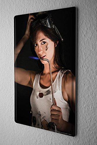 Blechschild-Jorgensen-Fotografie-Foto-Bilder-Model-Schweibrenner-Brille-l-Werkstatt-20x30-cm