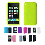 GREEN Apple iPhone 3G 3Gs 8GB 16GB 32GB Textured Silicone Skin Case Cover + ....