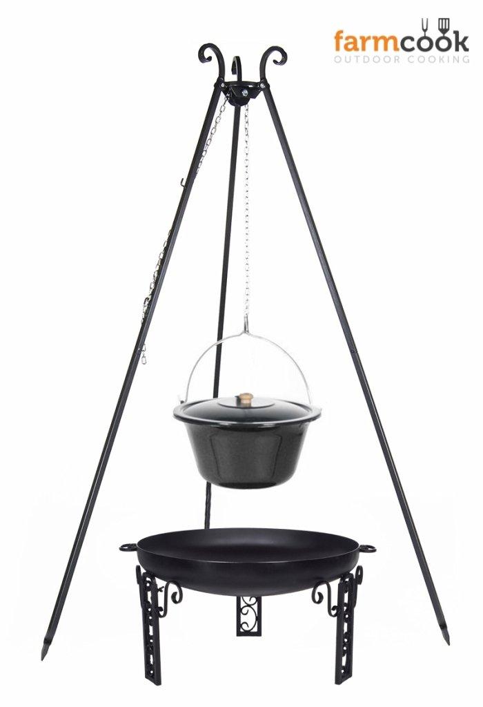 Dreibein Grill VIKING Höhe 180cm + Emaillierter Topf 14 Liter + Feuerschale Pan40 Durchmesser 60cm online bestellen
