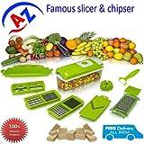 ATOZ Sales Combo Offer Nicer Dicer Plus 12 PC Multi Chopper Vegetable Cutter Fruit Slicer + Carrot Cucumber Sharpener...