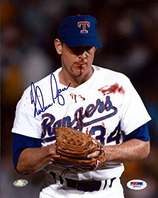 Nolan Ryan Autographed 8x10 Photo Texas Rangers Bloody Psa/dna Stock #75027