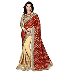 coolwomen women's georgette embroidered free size fancy saree-cw_NMN2A111_maroon_free size