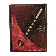 tamaño medio lápiz de la sección de retención en un marrón encuadernación de cuero diario - revista - cuaderno...